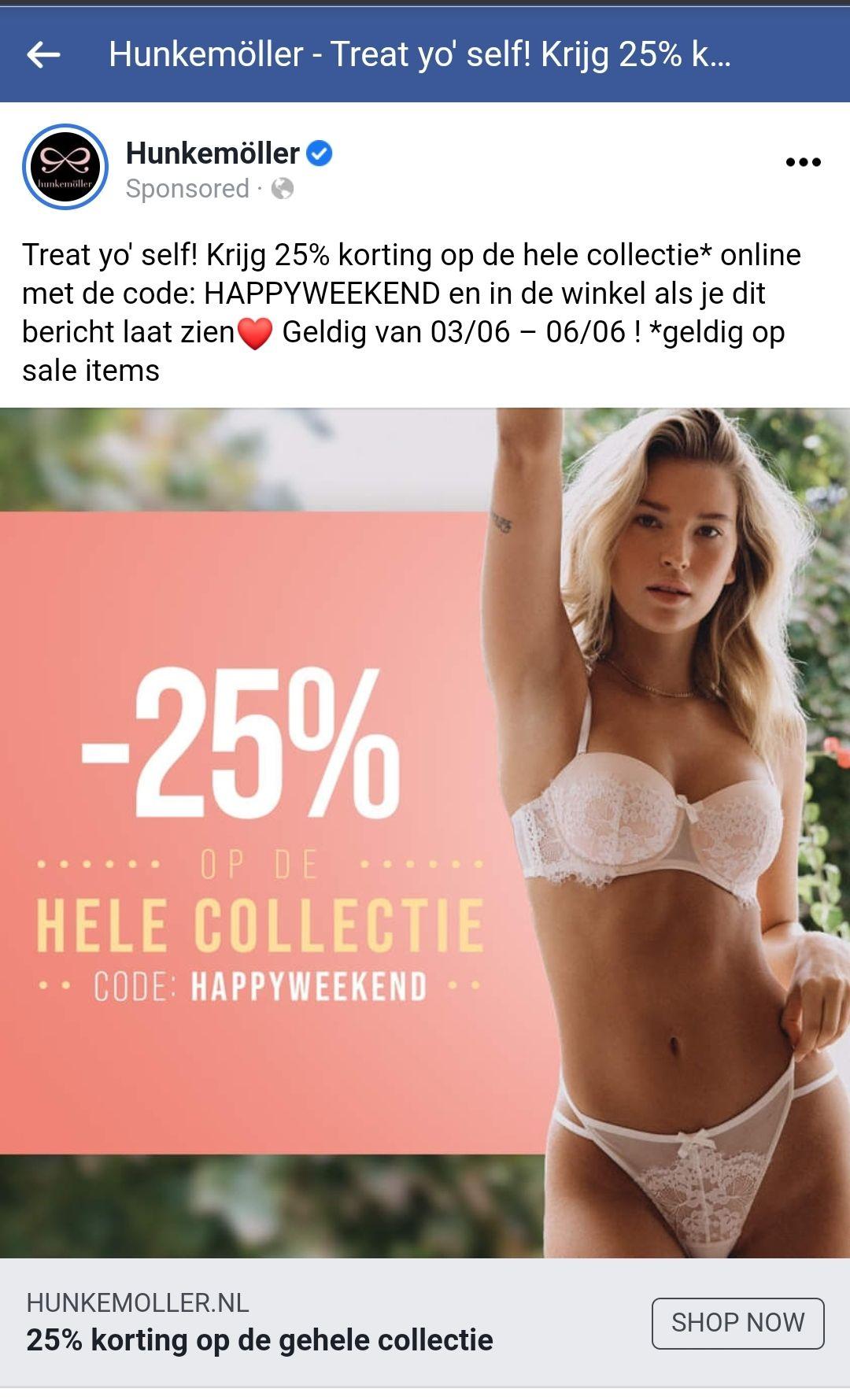 25% korting bij Hunkemöller