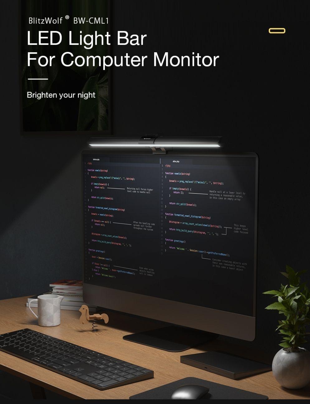 BlitzWolf monitor lamp 500-1000 Lux Adjustable Cool/Mix/Warm Light