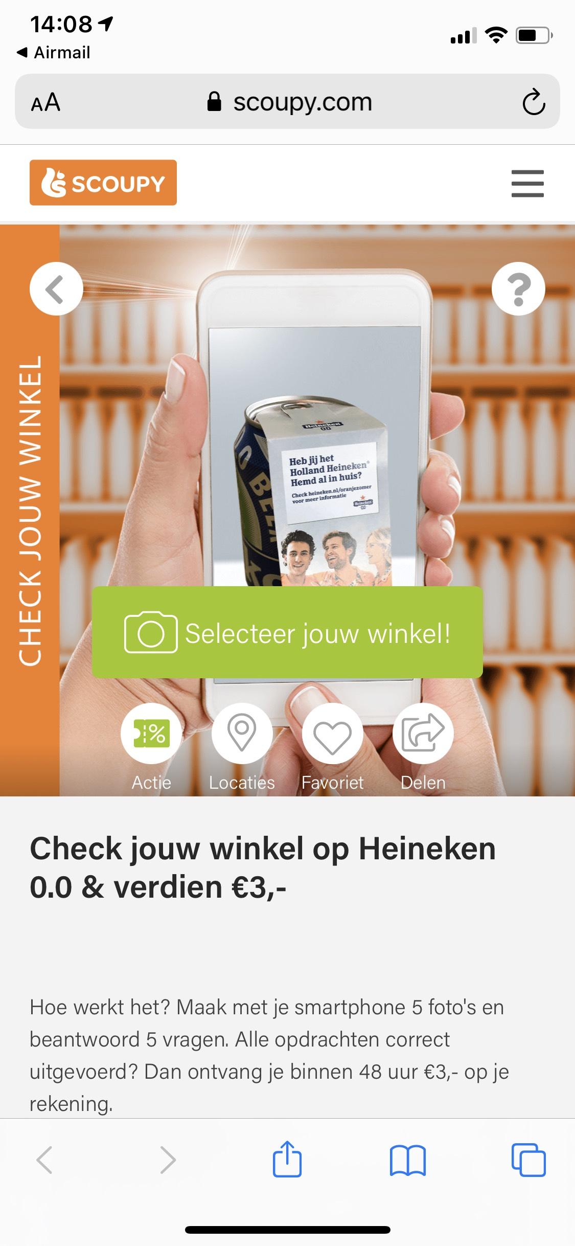 3 euro gratis geld via Scoupy als je foto's maakt van Heineken 0.0
