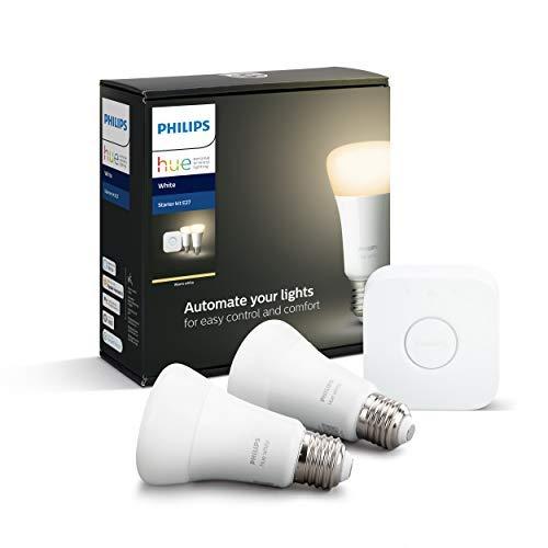 Philips Hue White E27 Starter Set: Hue Bridge + twee E27 lampen (dimbaar, warm wit licht)