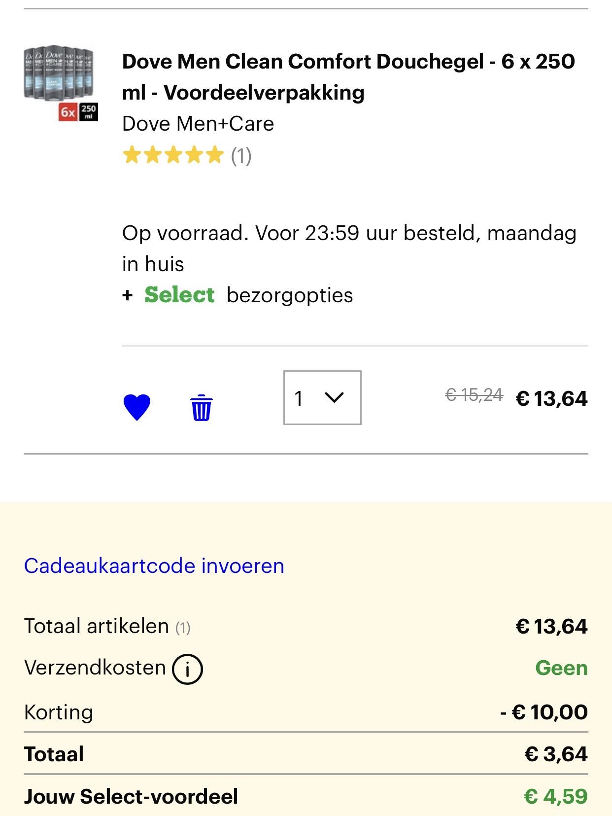 Select: Dove Men Clean Comfort Douchegel - 6 x 250 ml
