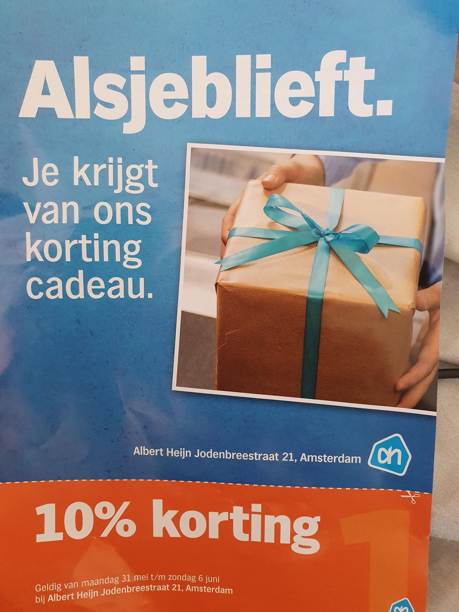 10% korting of bijna alles bij AH Jodenbreestraat Amsterdam