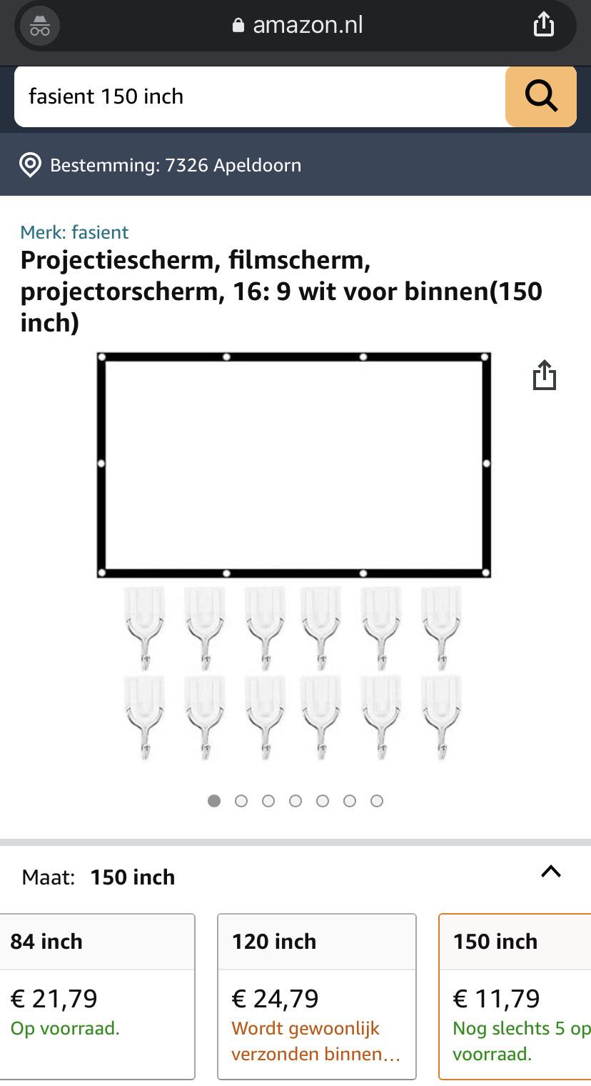 Projectie/Beamerdoek [PRIJS-FOUT] 150 inch