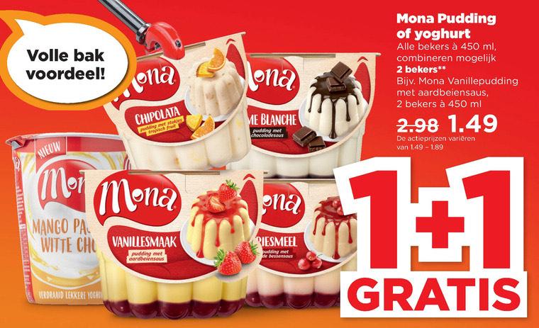 Alle Mona pudding of yoghurt 1+1 gratis @Plus