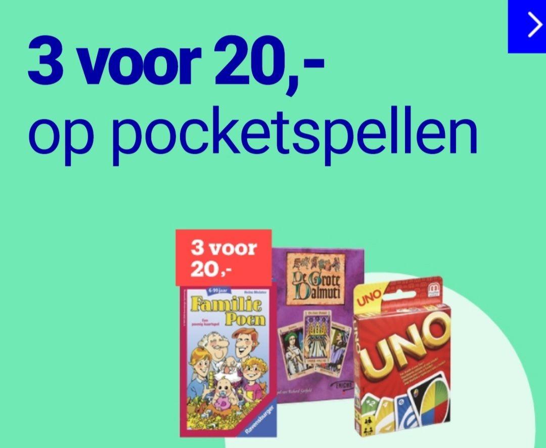 3 pocketspellen voor 20 euro bol.com