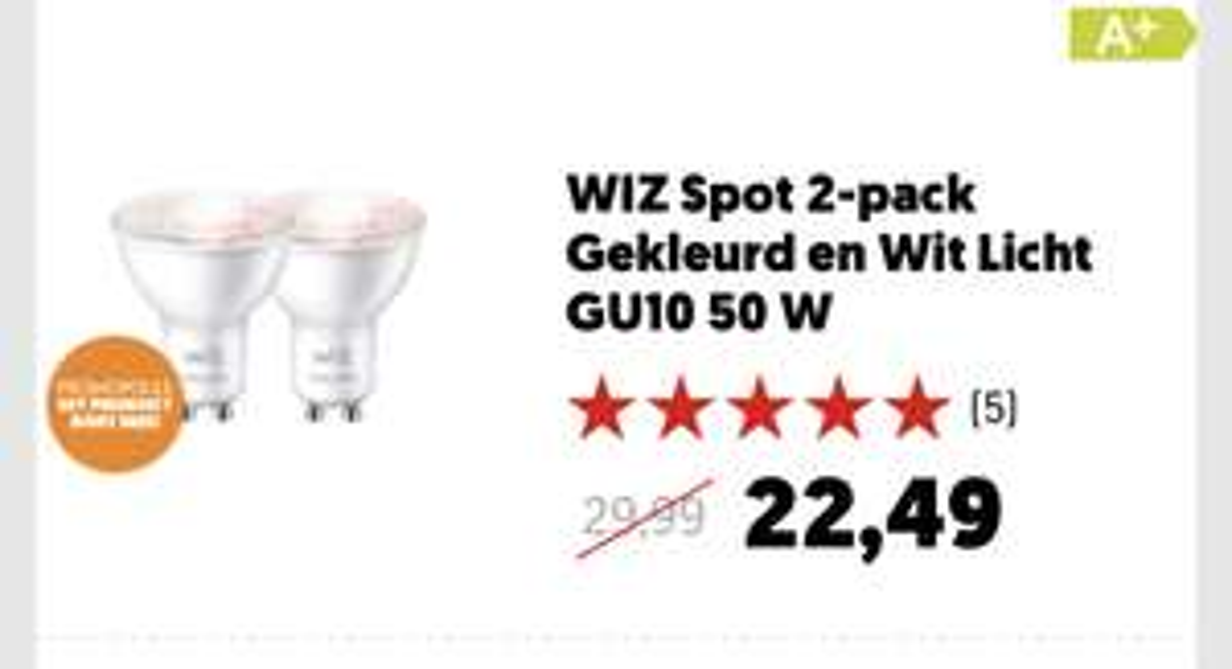 25% korting op WiZ slimme lampen bij MediaMarkt