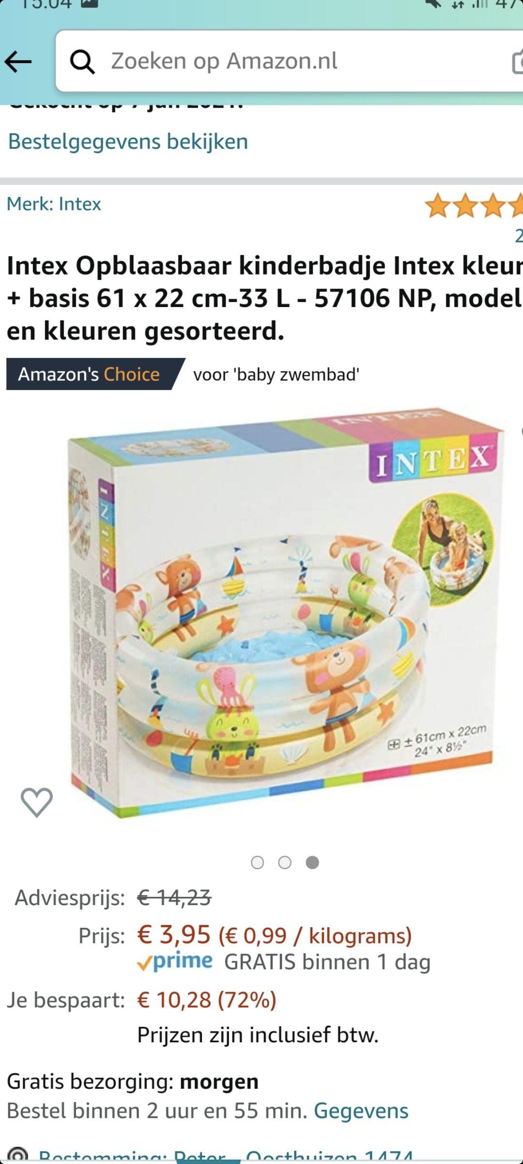 Intex Opblaasbaar kinderbadje (of voetenbadje voor ouders:p)