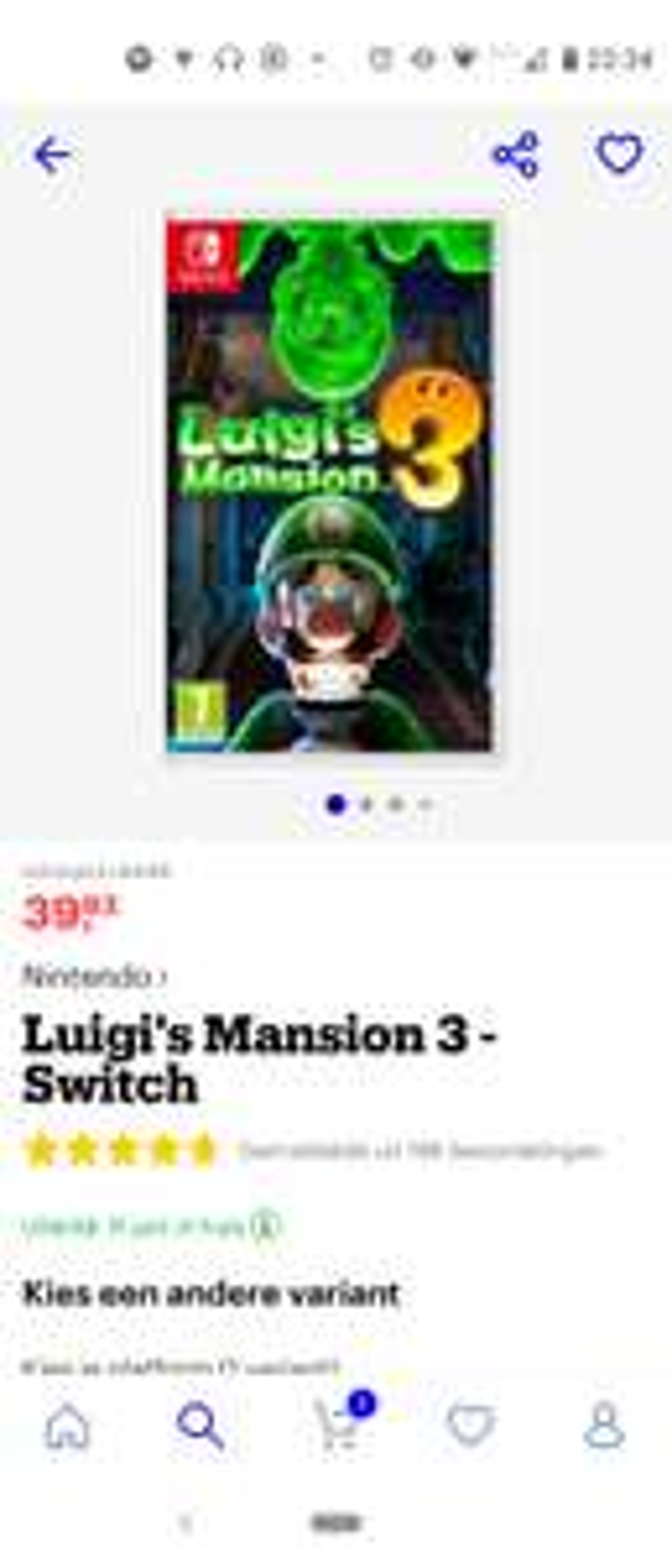 Luigi mansion 3 switch (externe verkoper via bol)