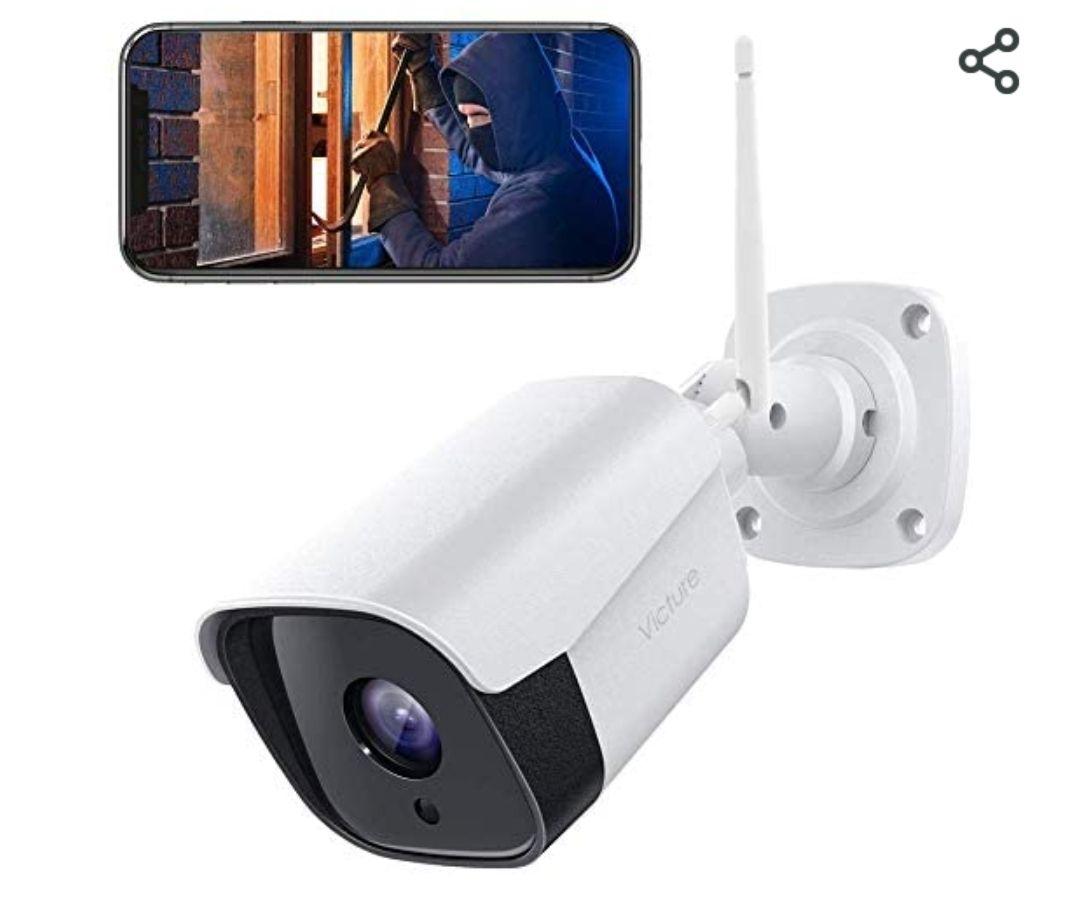 Victure 1080P Bewakingscamera voor buiten, 2,4 GHz WLAN IP-camera IP66 waterdicht, twee-weg audio, bewegingsdetectie& geluidsherkenning