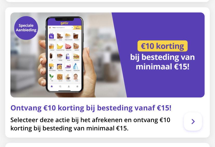 [Lokaal: Amsterdam] terugkerende €10 korting bij Getir