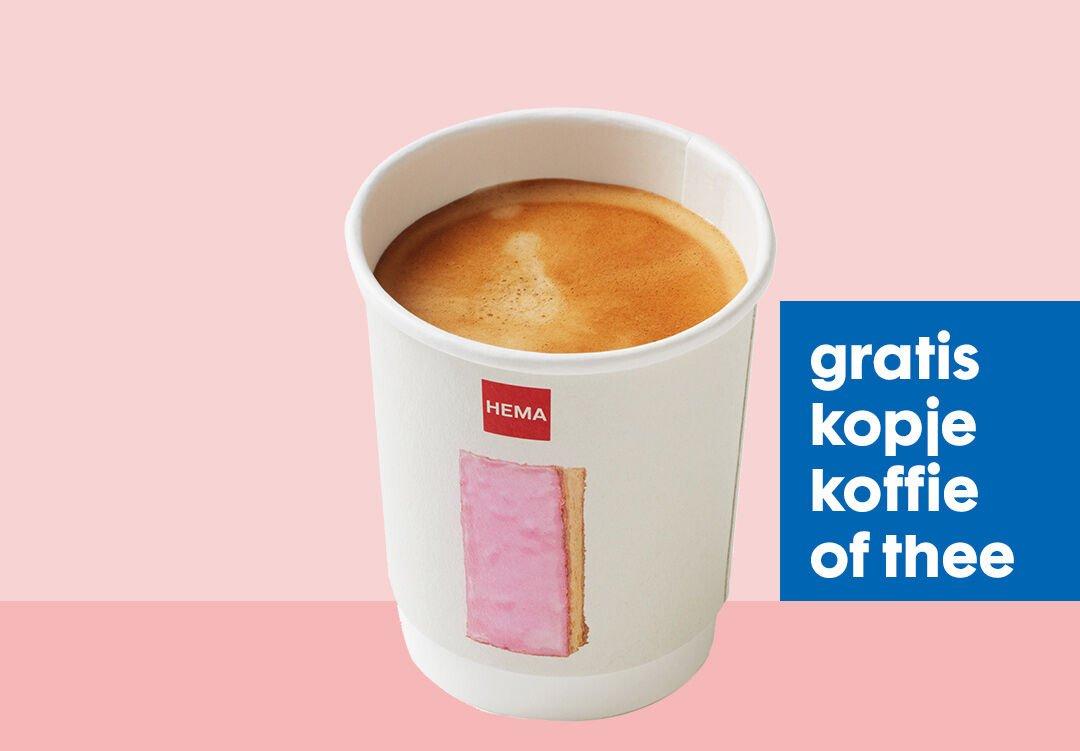 Regel een gratis kopje koffie of thee + 10% welkomstkorting @ HEMA