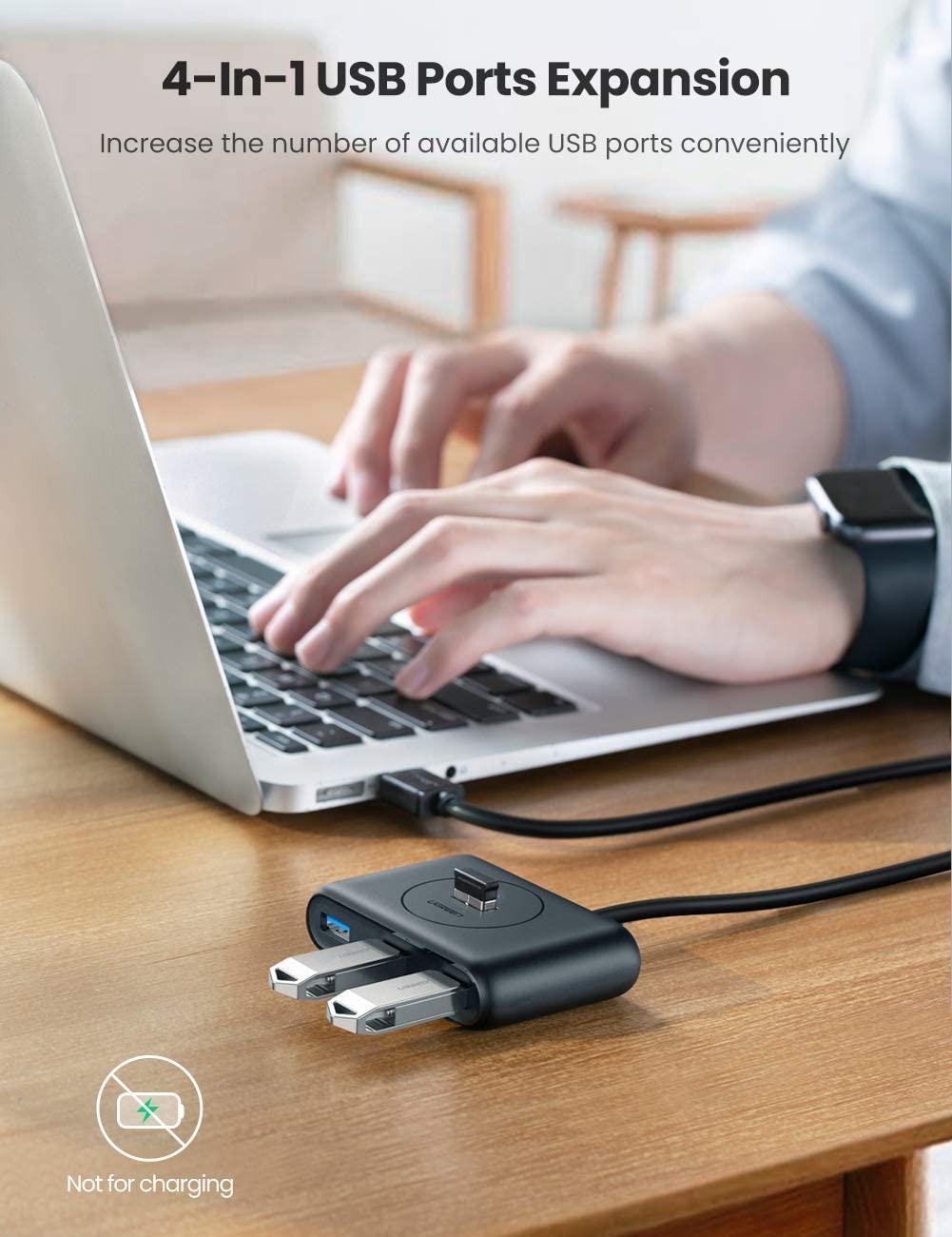 UGREEN USB 3.0 hub 4 poorts voor €8,99 met code @ Amazon NL