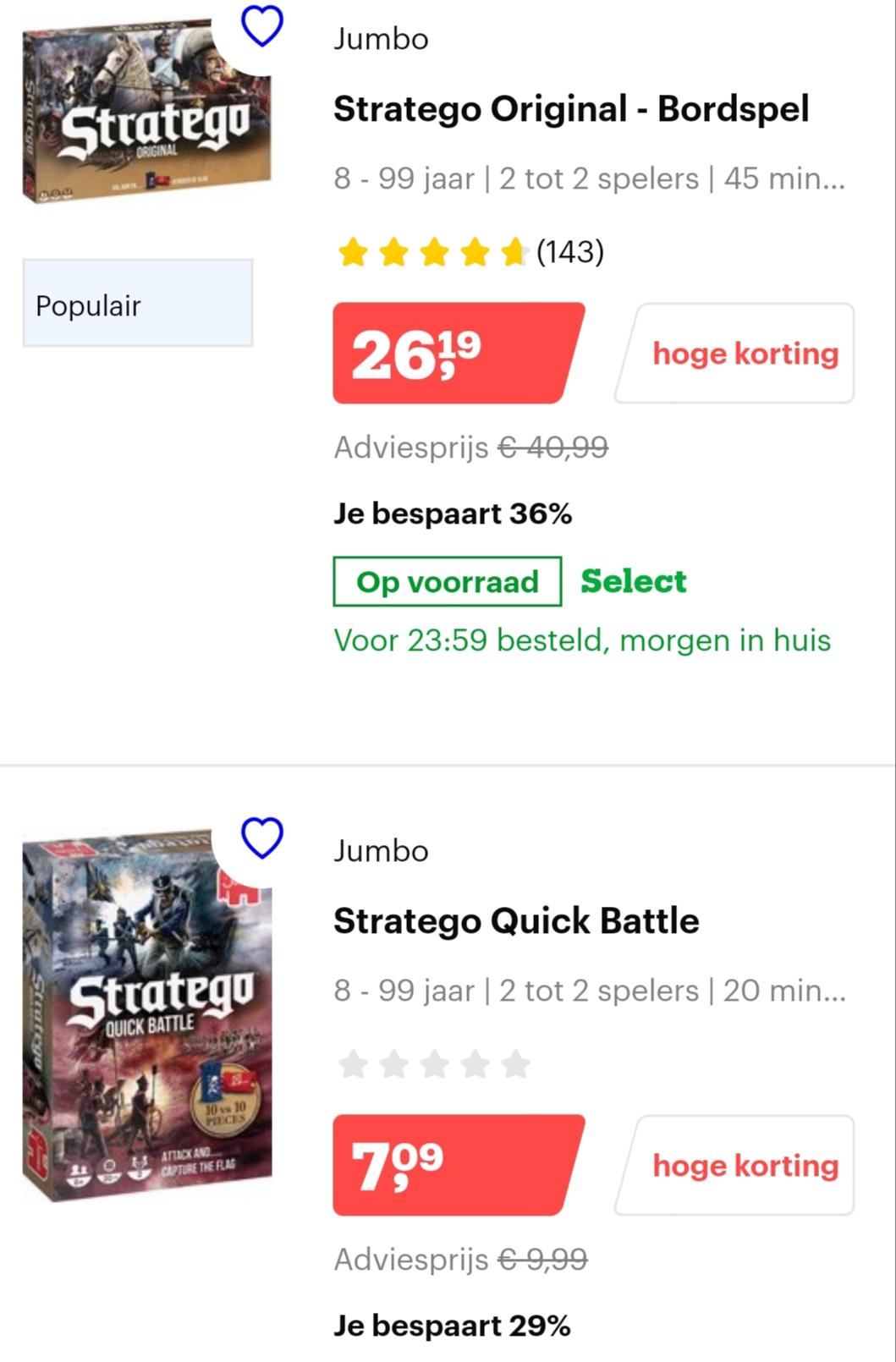 Tot 25% korting op Stratego bij Bol.com
