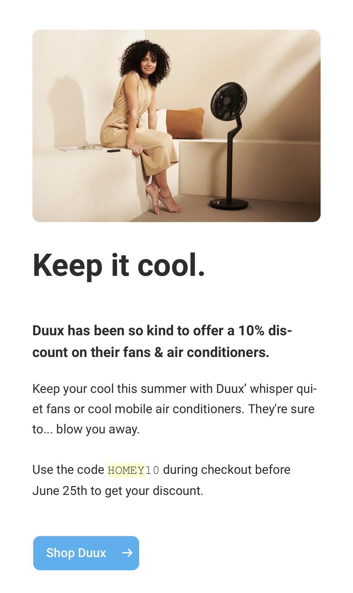 10% korting op Duux smart ventilatoren en airco's