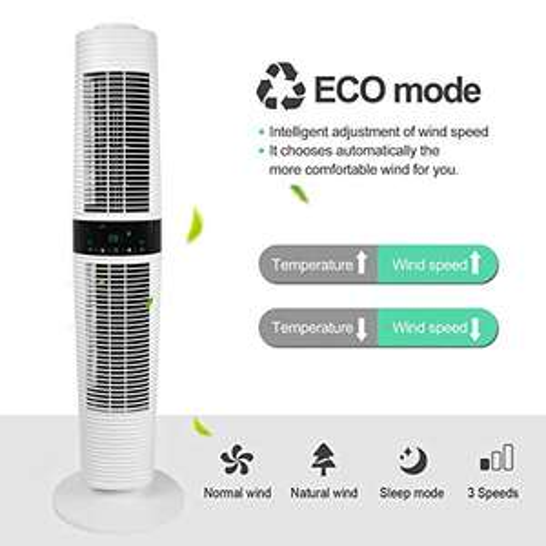 MYCARBON Torenventilator, stille 32 dB, luchtcirculatie, 350 m³/u, voor 30 m² ECO-modi, oscillatie, 360 graden ventilator, stille 45 W,