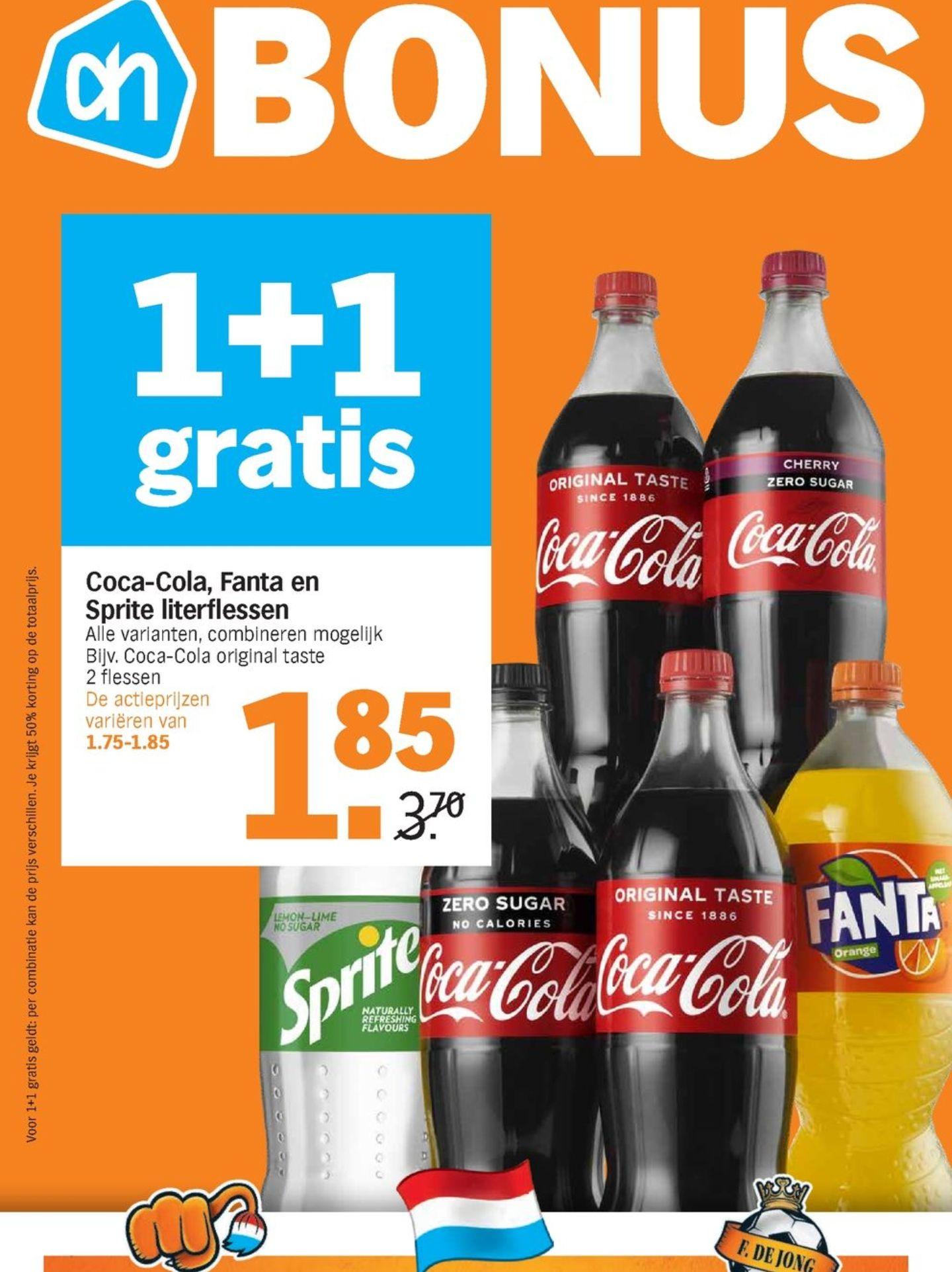 Coca cola literflessen 1+1 gratis @Albert heijn