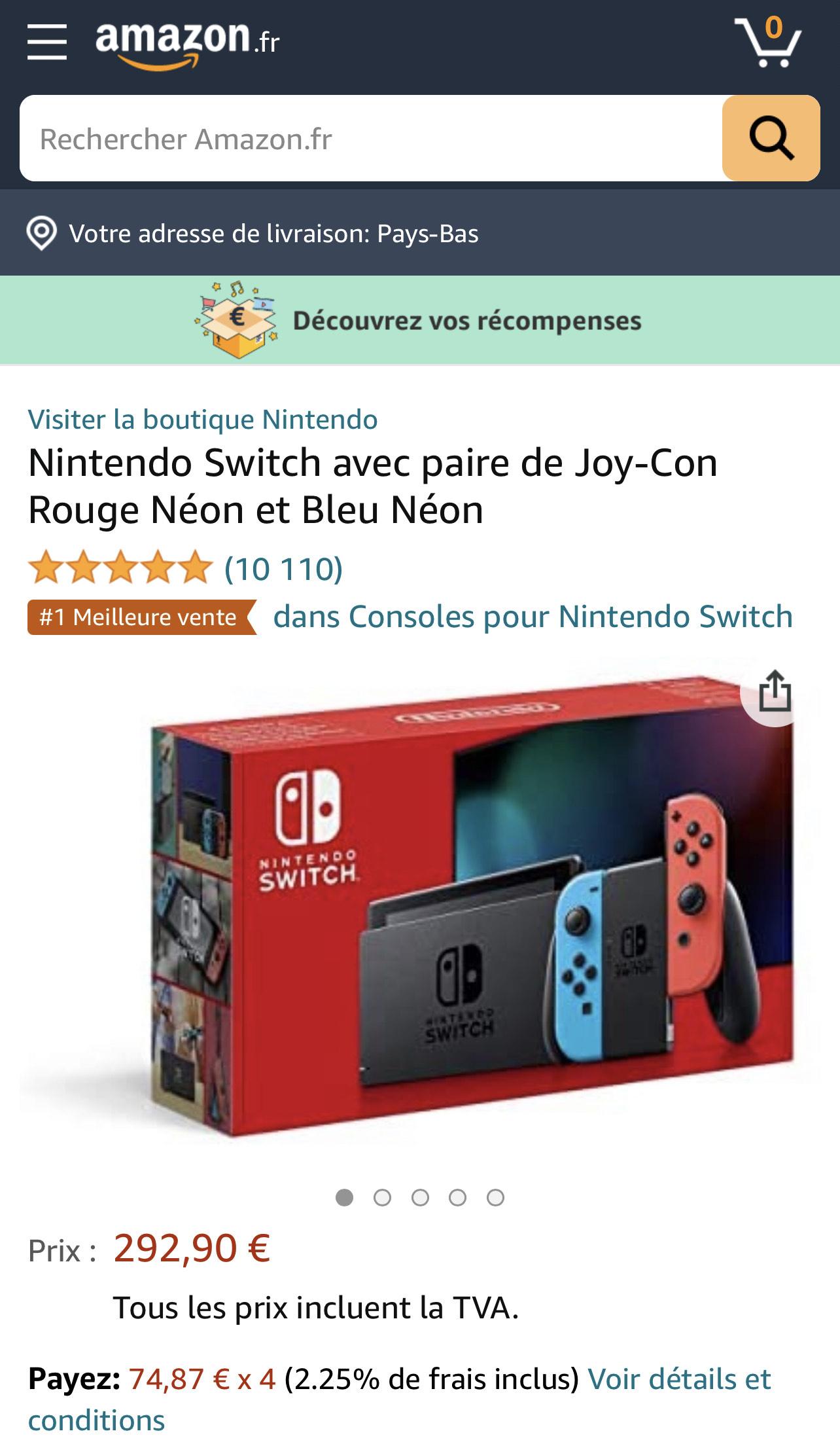 Nintendo Switch Console, Rood/Blauw [Refurbished]