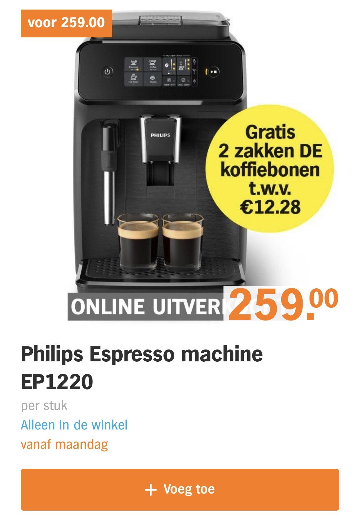 Philips espresso machine met 2 zakken DE Bonen €259 of €229 (Airmiles)