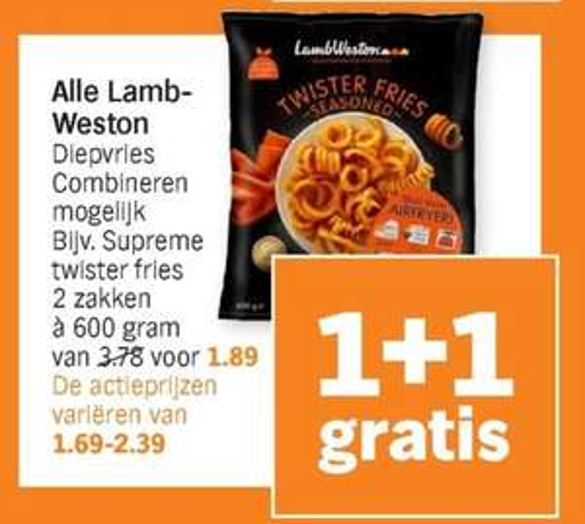 Krul en andere Lamb-Weston frietjes - 1+1 gratis @Appie