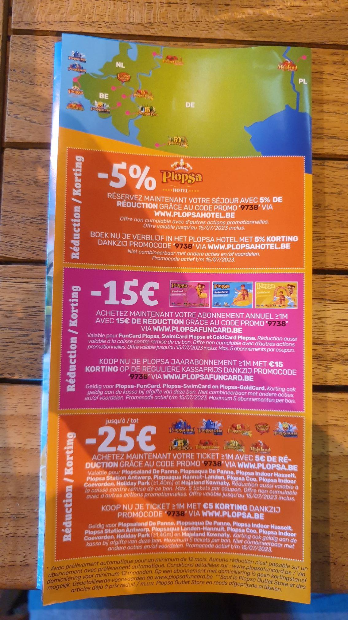 5€ korting op entree Plopsa parken, 5% korting op verblijf Plopsa hotel, 15€ korting op jaar abonnement