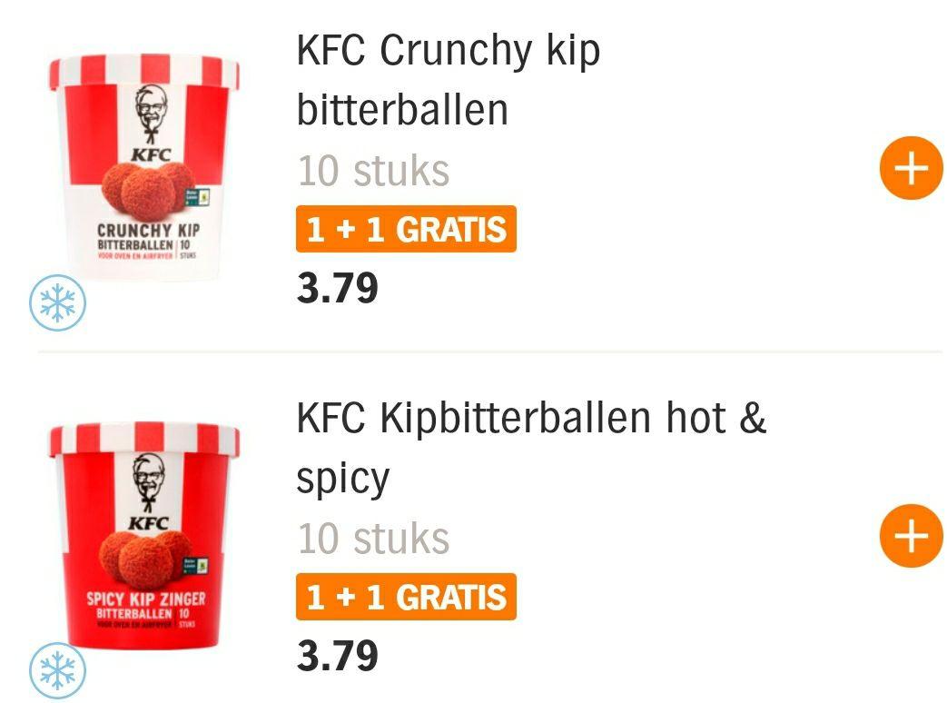 Nu 1+1 gratis op KFC Bitterballen bij Albert Heijn