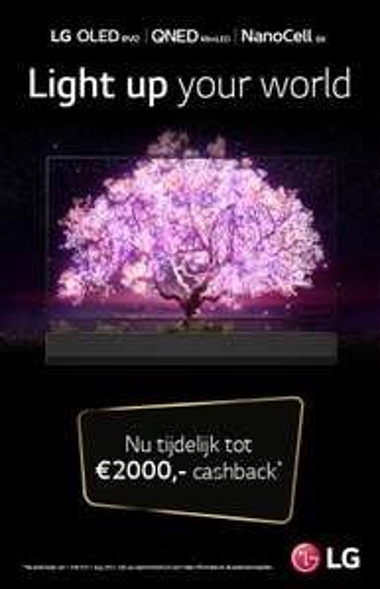 Tot € 2000,- cashback op je LG tv / Tot € 200,- cashback op je LG Soundbar