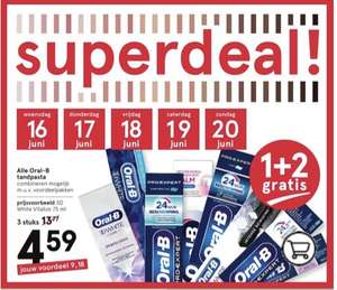 Oral-B tandpasta 1+2 gratis