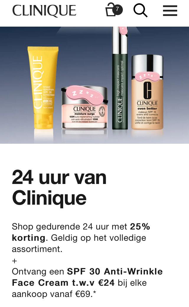 Clinique day 25% korting op alles + fullsize cadeau + met code extra mini's