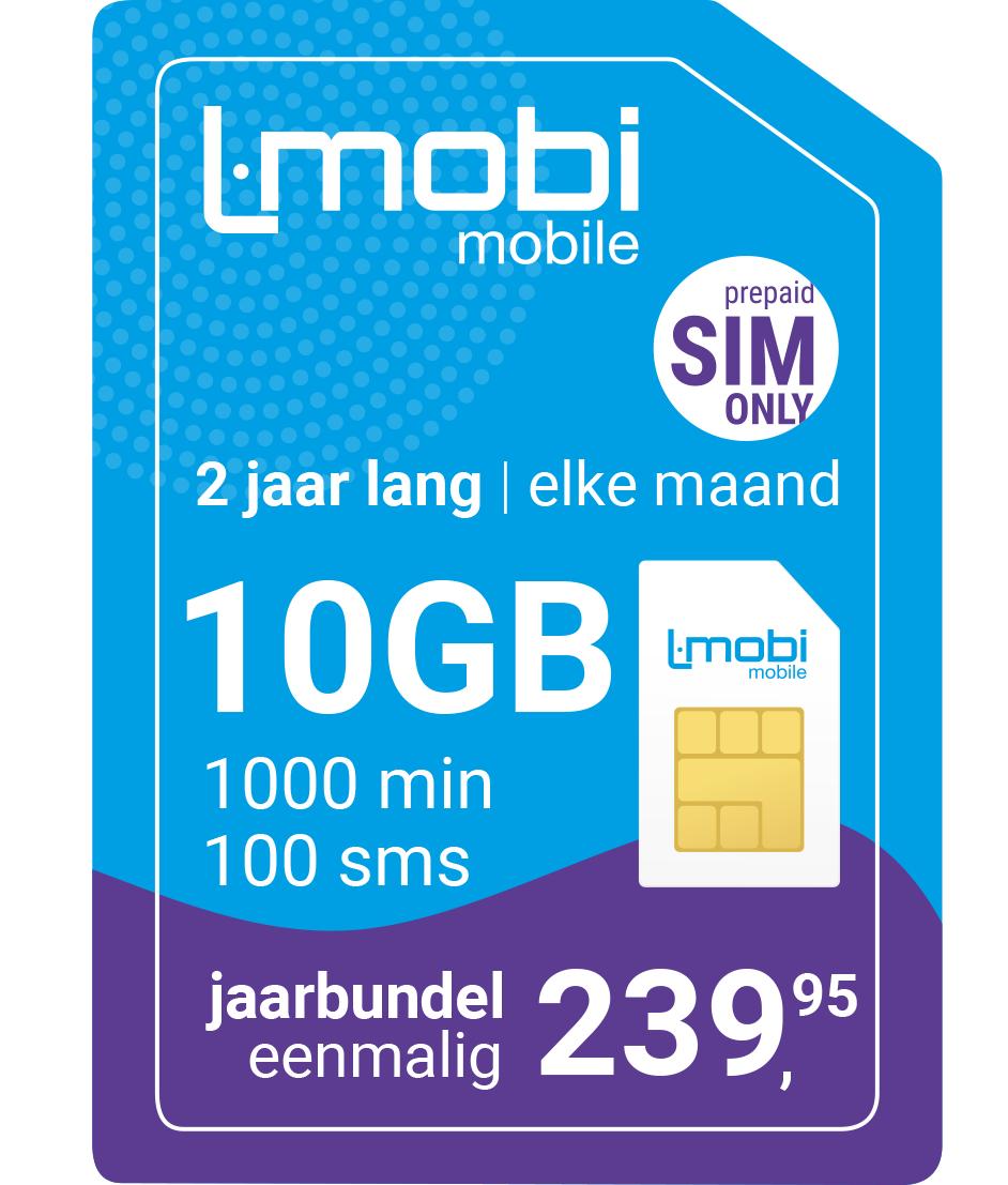L-Mobi Prepaid: 10GB + 1000 min voor 9 euro per maand.