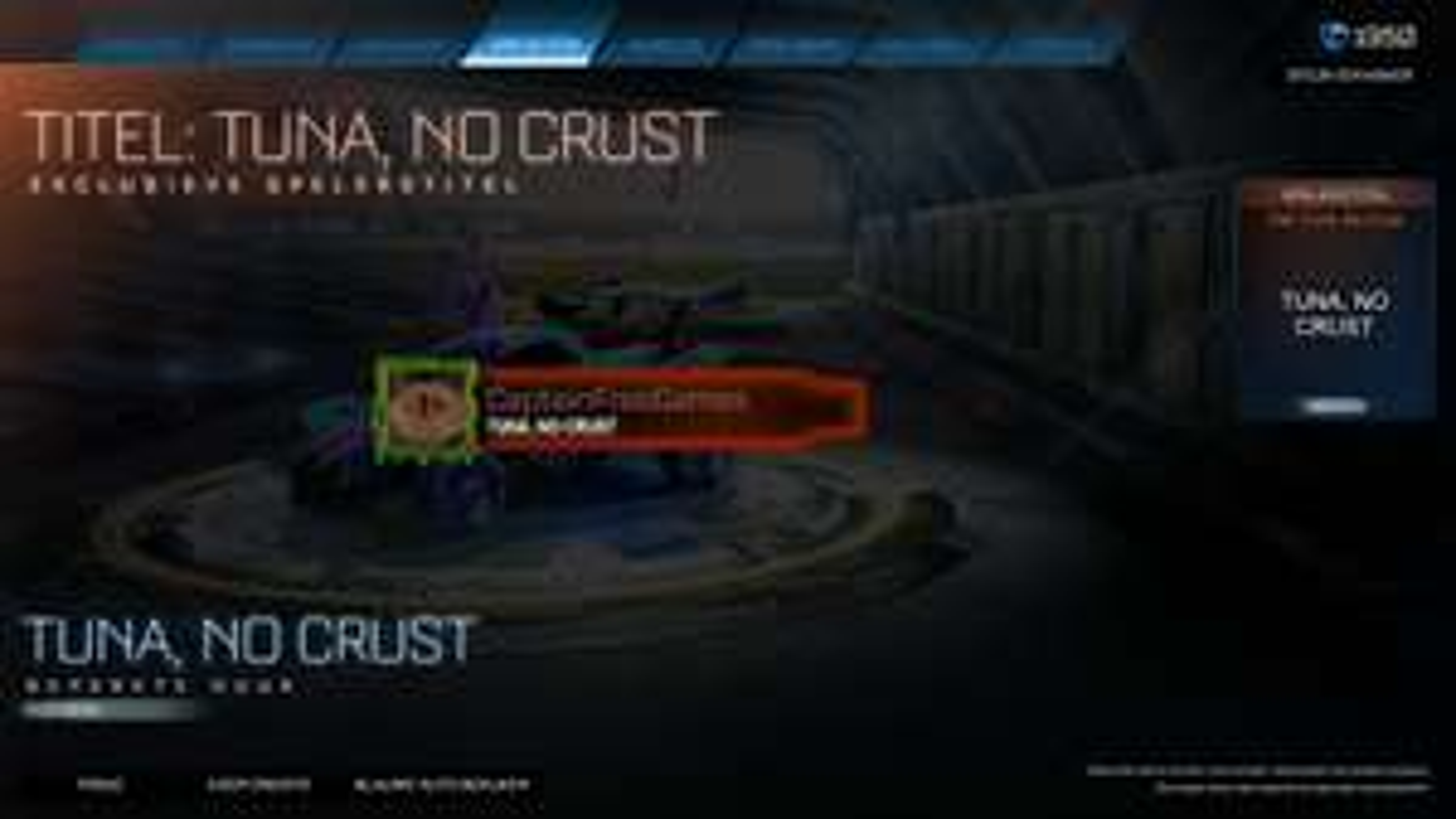 "Gratis speler titel ""Tuna, no crust"" Rocket League"