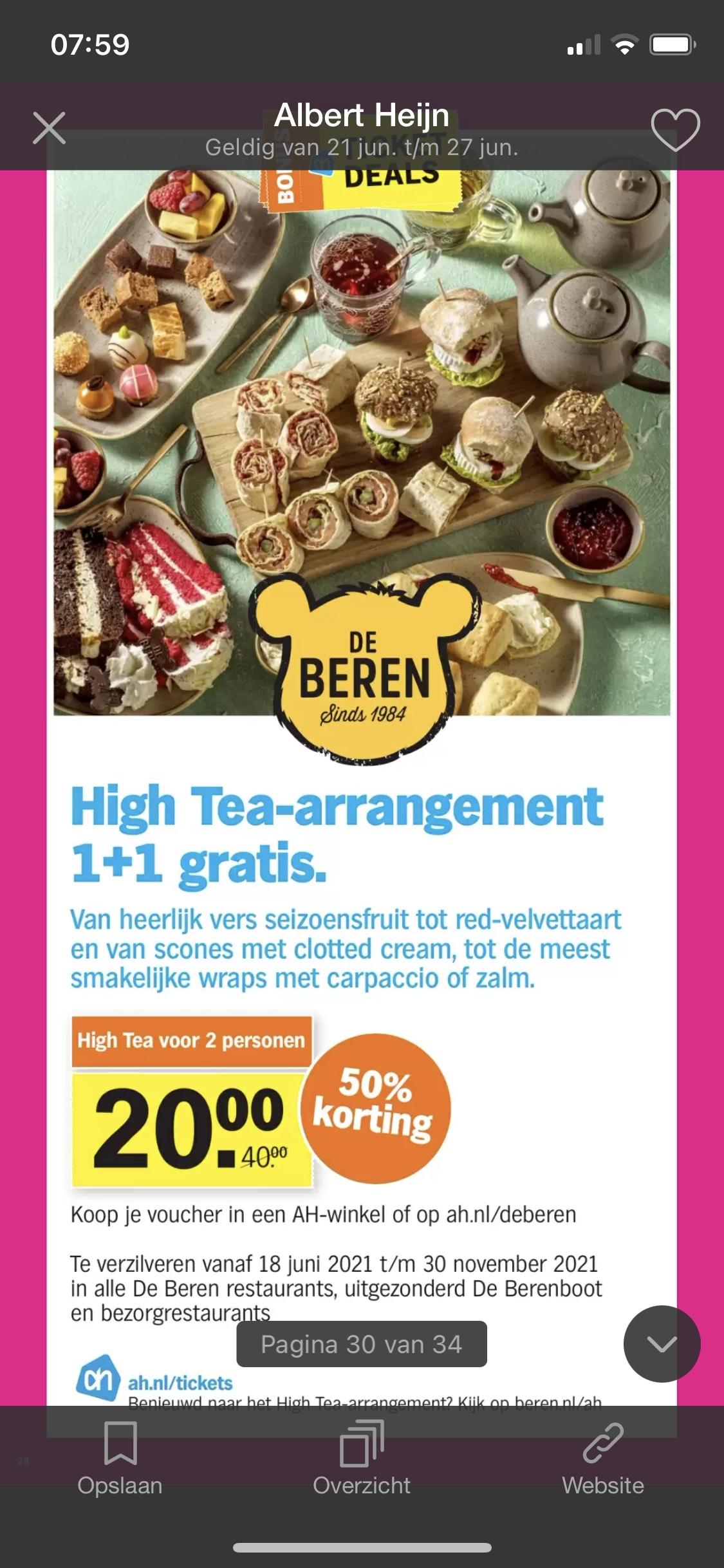 High-tea arrangement 1+1 gratis