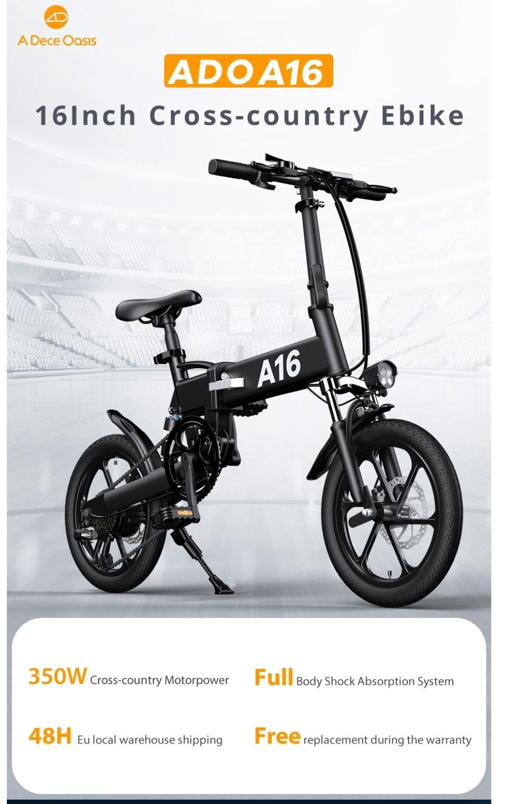 [EU DIRECT] ADO A16 250W 36V 7.8Ah 16 inch Electric Bike 25km/h
