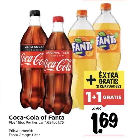 Coca-cola en Fanta 1+1 gratis (vomar)