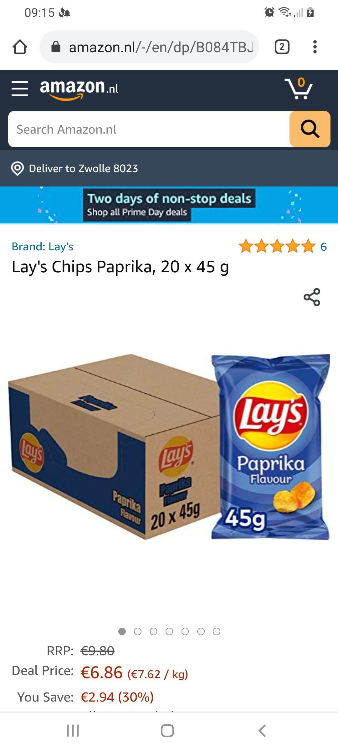Lays paprika uitdeeldoos 20 x 45 g @ Prime Amazon