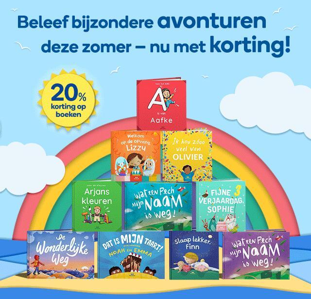 20% korting op gepesonaliseerde kinderboeken met code PRIME20