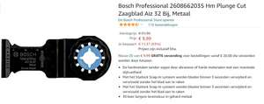 Bosch Carbide Invalzaagblad AIZ 32 At Metal 40 x 32 mm - 2608662035 t.b.v. multitool