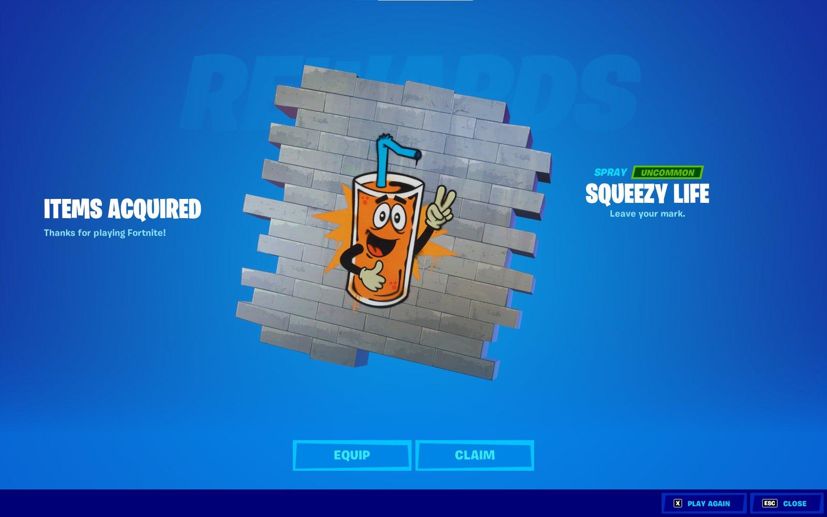 Gratis DLC voor Fortnite Squeezy Life Spray