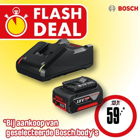 Bosch starterkit 18V - 4,0Ah bij koop Bosch body voor €59 (normaal €127,71) @ ToolStation