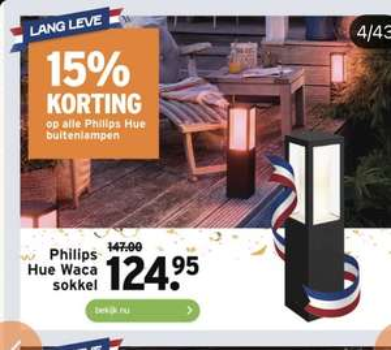 Philips Hue Buitenlamp 15% korting bij Gamma