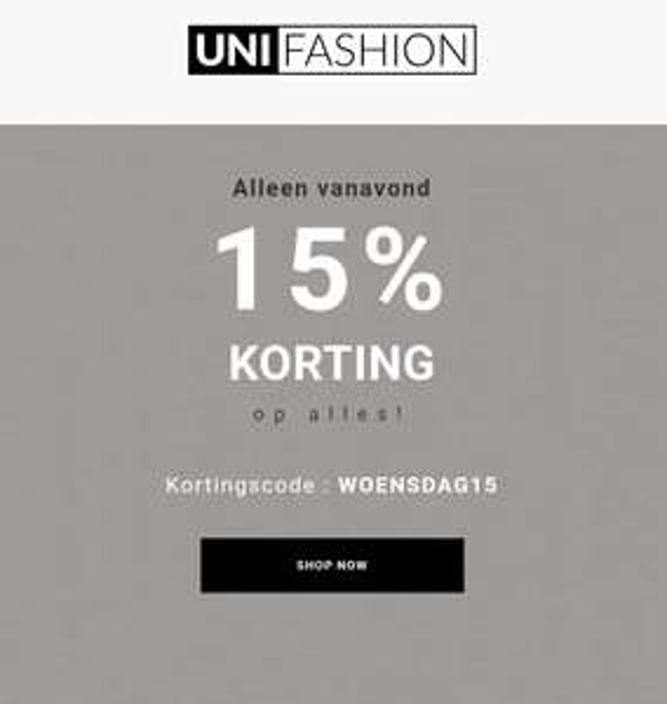 15% korting bij Unifashion
