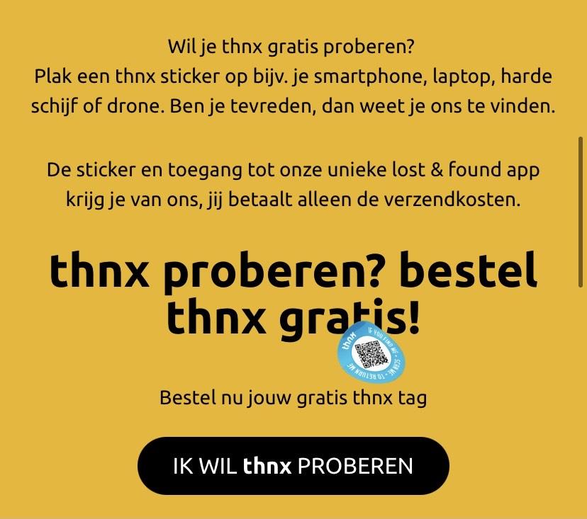 Gratis thnx sticker, nu ook tijdelijk gratis verzending