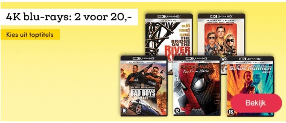 4K Blu-rays: 2 voor 20,-