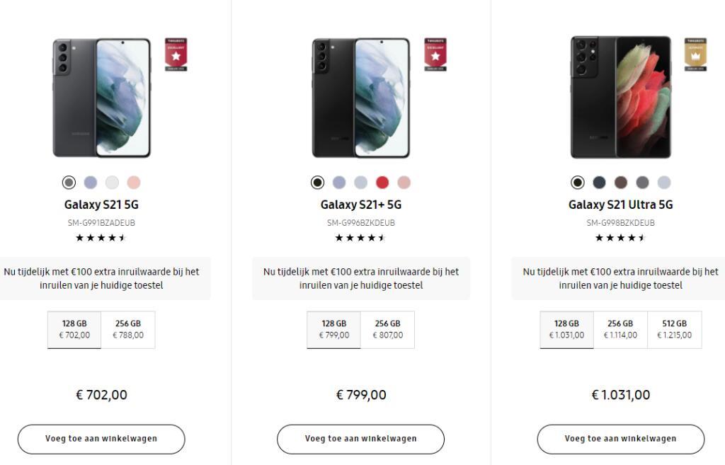 Samsung galaxy S21, S21+, S21 Ultra, A52 en A72 Extra inruil waarde via ing