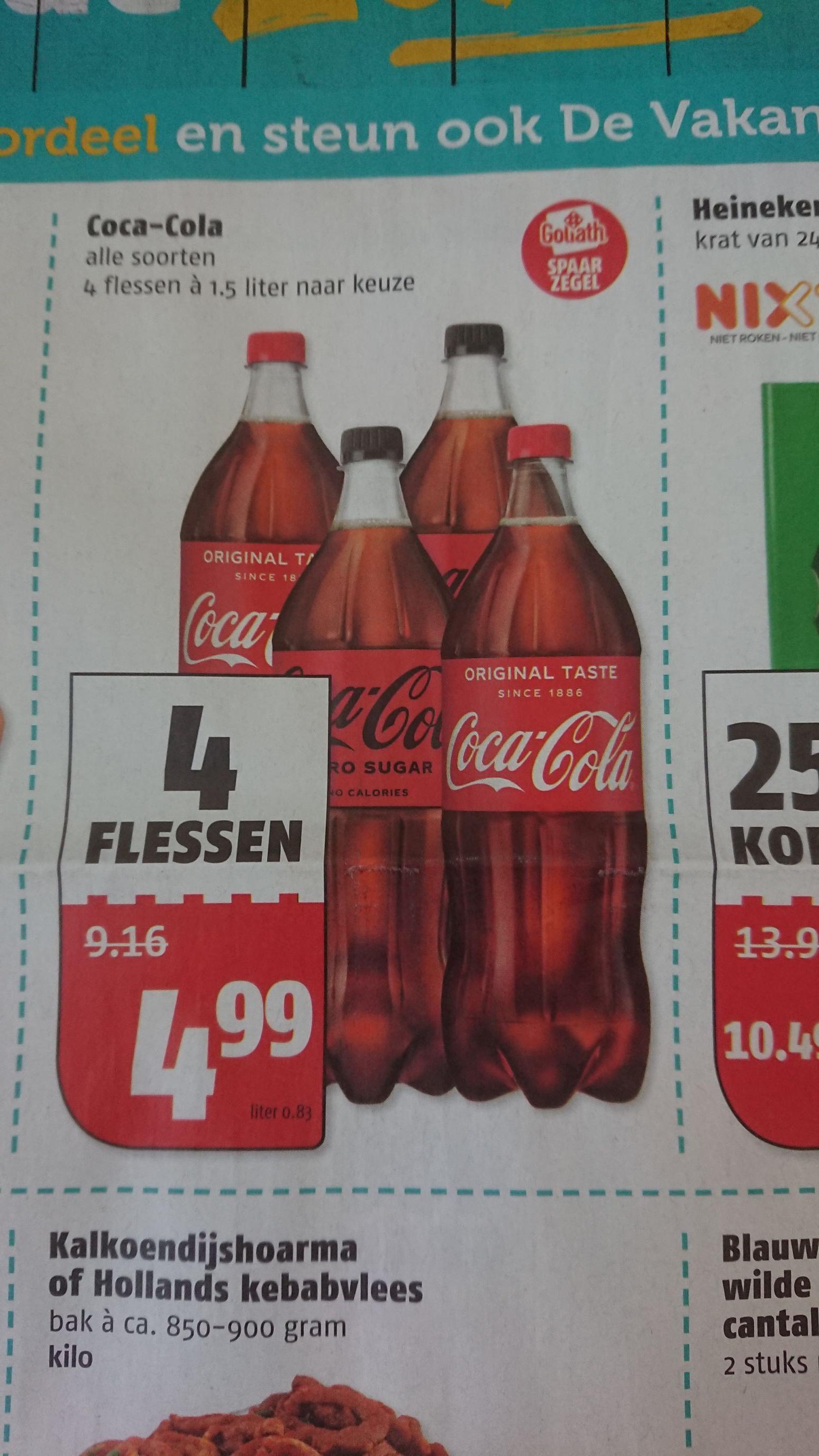 Coca-Cola 4 x 1,5L naar keuze
