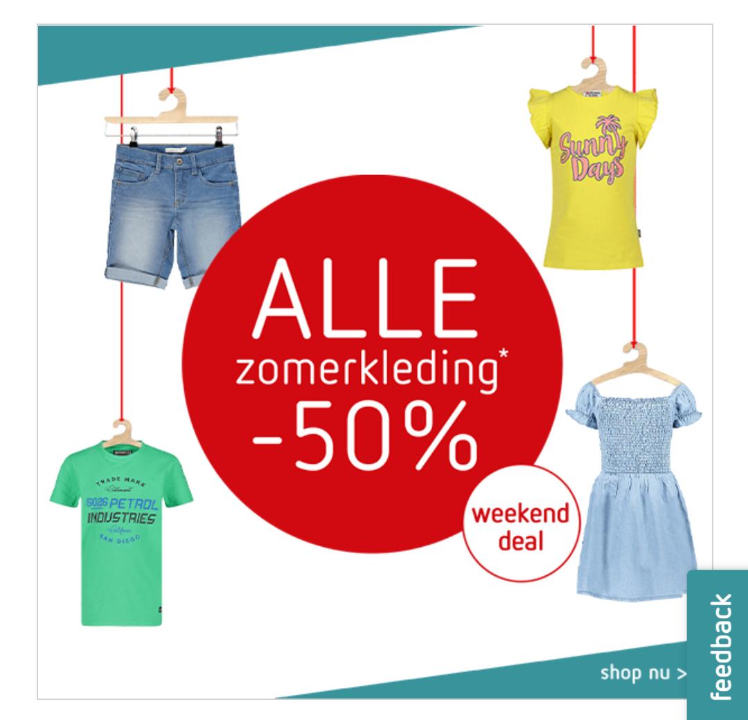 50% korting op alle zomerkleding (kinderen) kleertjes.com