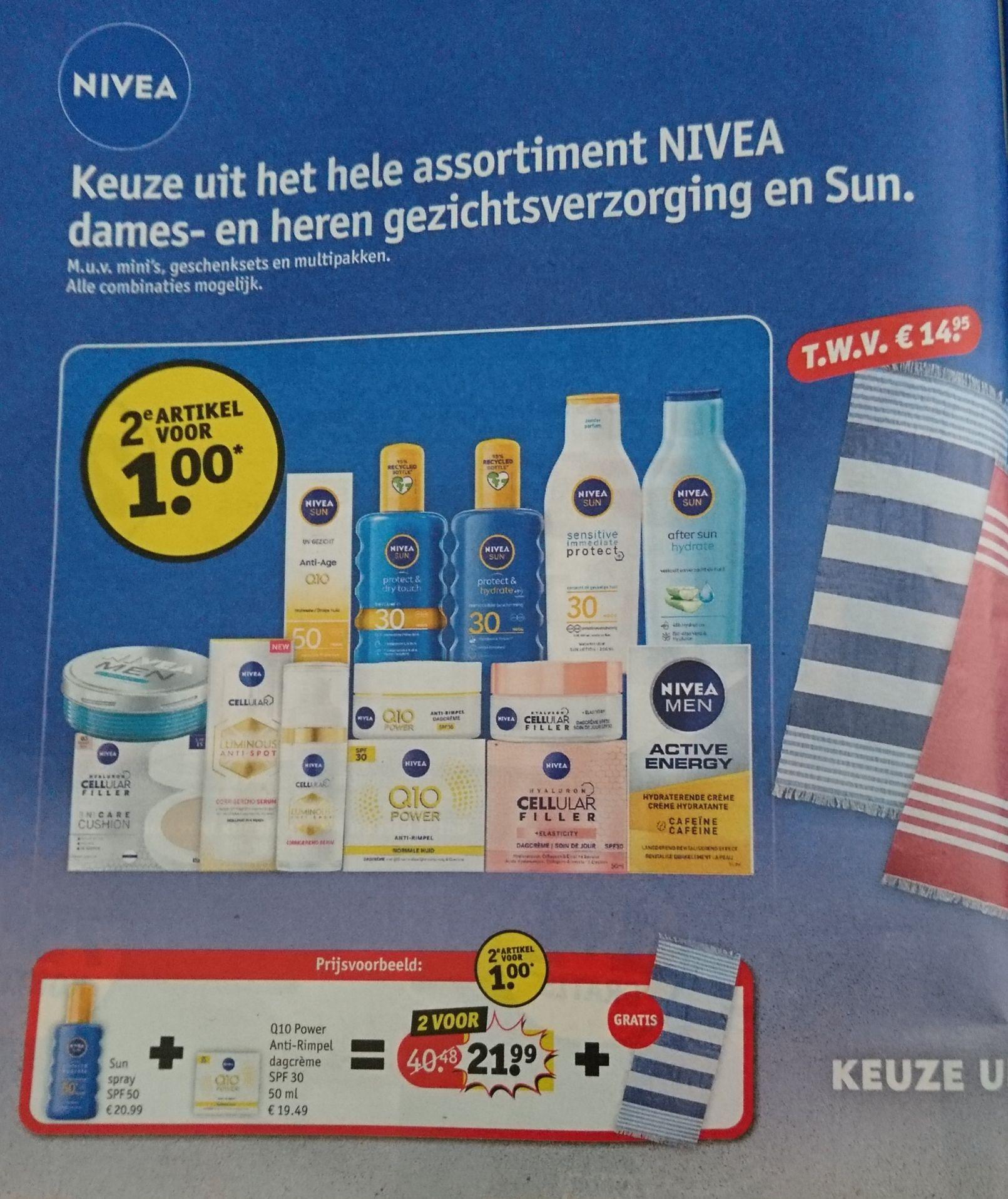 Nivea tweede artikel €1 + gratis handdoek twv €14,95 Kruidvat