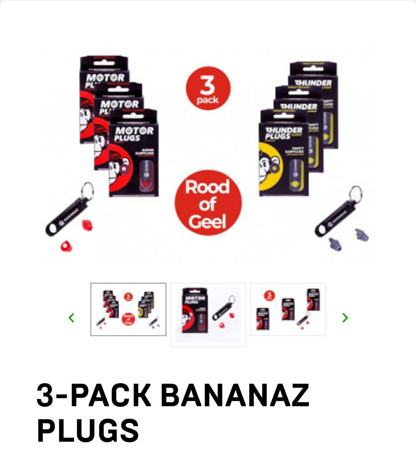 Bananaz earplugs (Motor) of (Thunder) 3-pack
