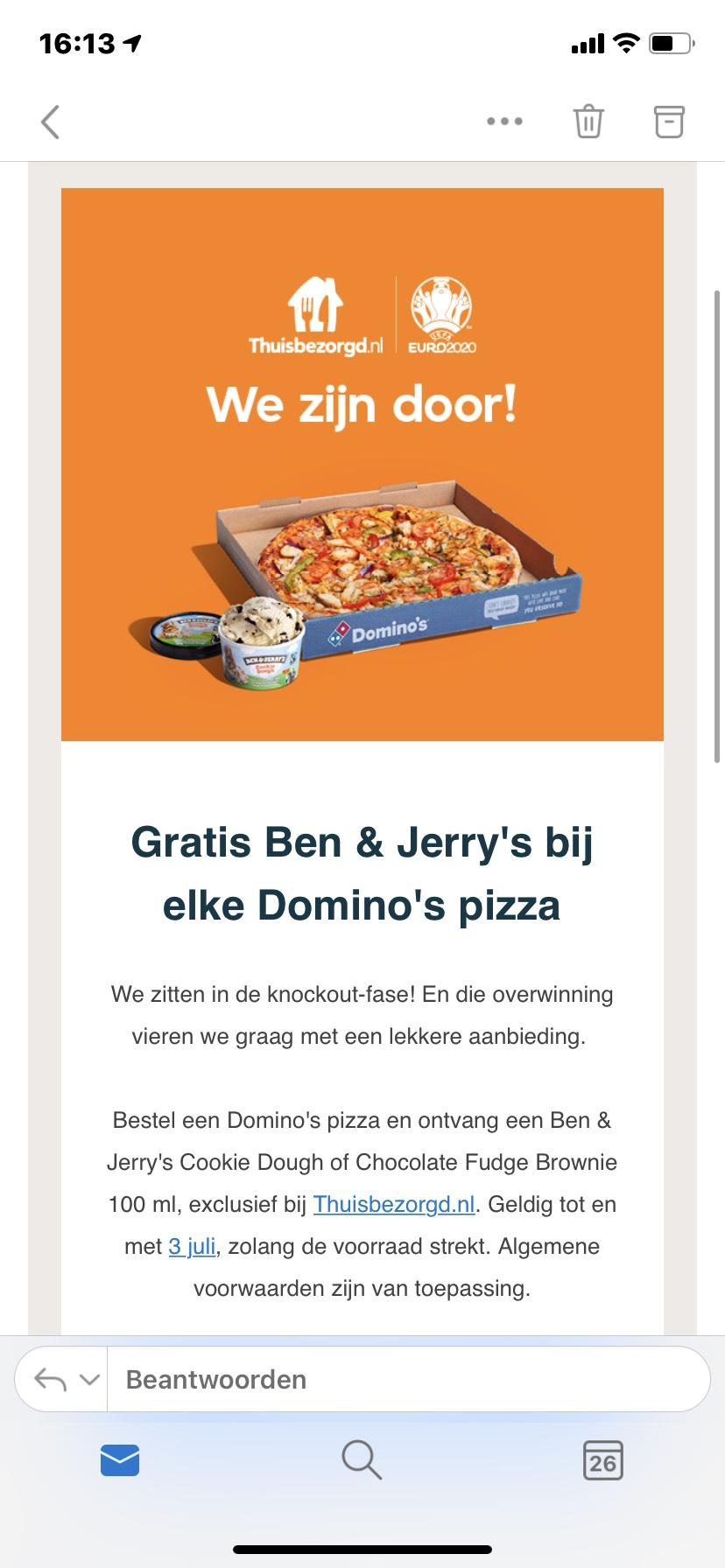 Gratis Ben & Jerry's bij Domino's Pizza @ Thuisbezorgd