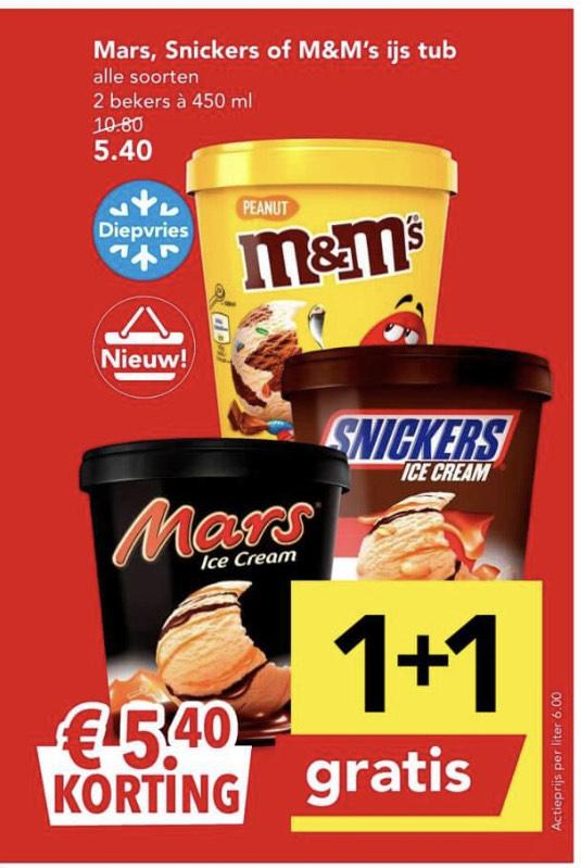 Mars, Snickers, M&M ijsbekers 1+1 gratis (deen)
