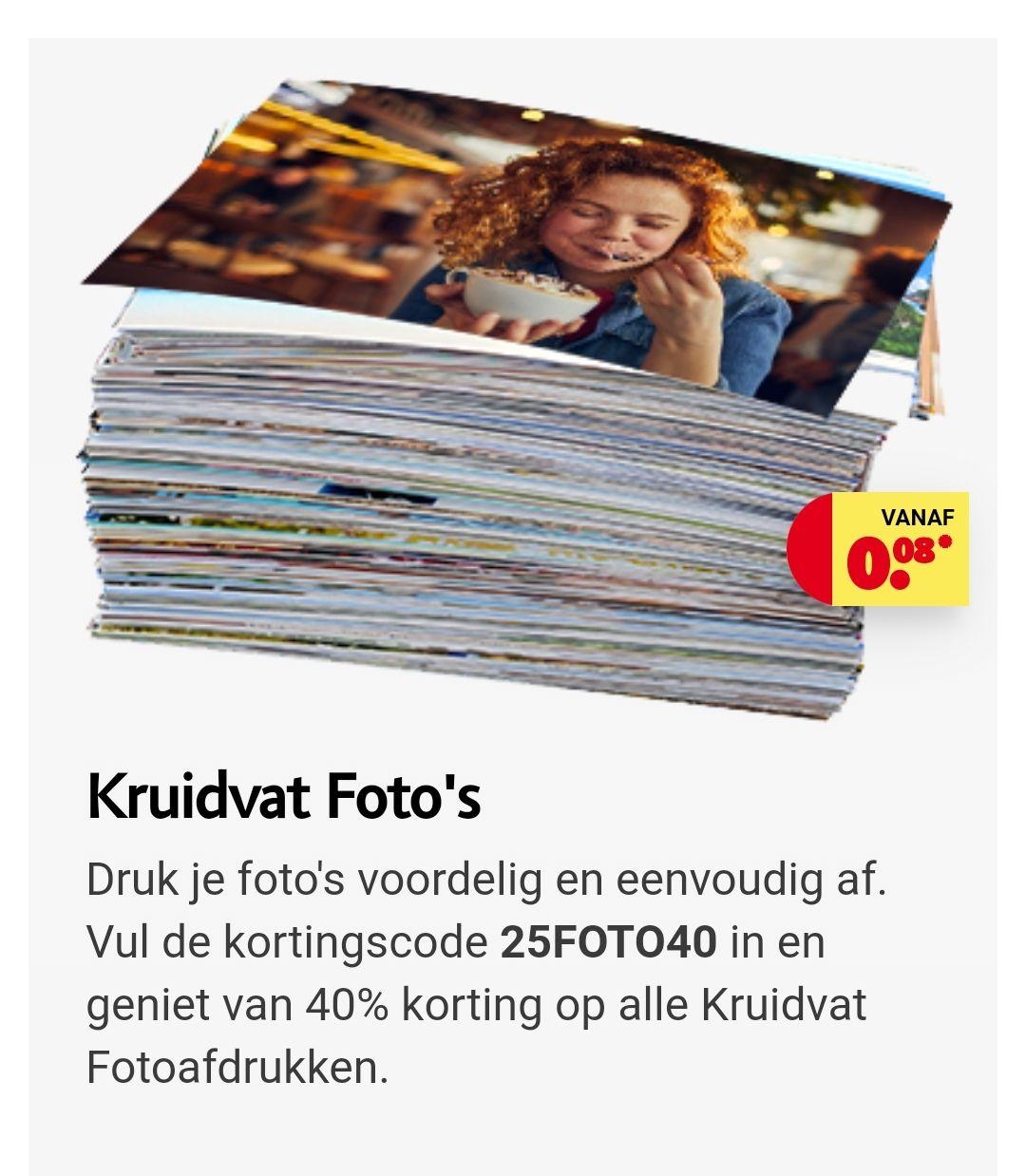 40% korting foto afdrukken kruidvat site bv 100 stuks